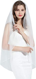 1 Tier Wedding Bridal Veil Pencil Edge Ivory White Fingertip Cathedral (More Length)