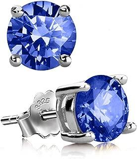 Sterling Silver Birthstone Earrings 6mm 0.84 Carat Created Diamond or Gemstone Ear Earring Studs Jewelry Women Girls Anniversary Birthday Mom's Gifts