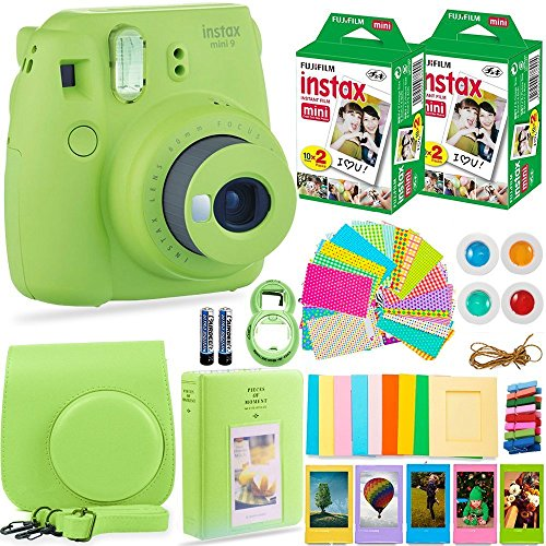 FujiFilm Instax Mini 9 Instant Camera + Fuji Instax Film (40 Sheets) + Bundle - Carrying Case, Filters, Photo Album, Stickers, Selfie Lens + More(Lime Green)