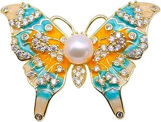 JYX Pearl Brooch Butterfly Freshwater Pearl Brooch Pin