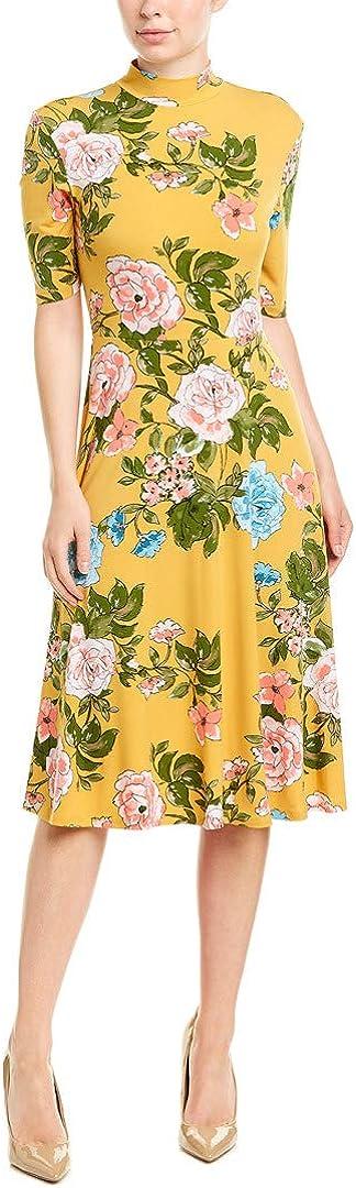 Donna Morgan Women's 3/4 Sleeve Mock Neck Floral Matte Jersey Dress