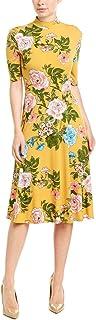 Donna Morgan womens 3/4 Sleeve Mock Neck Floral Matte Jersey Dress Dress