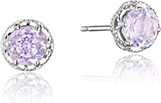 SE24013 Sterling Silver Rose Amethyst Petite Crescent Crown Lilac Blossom Stud Earrings