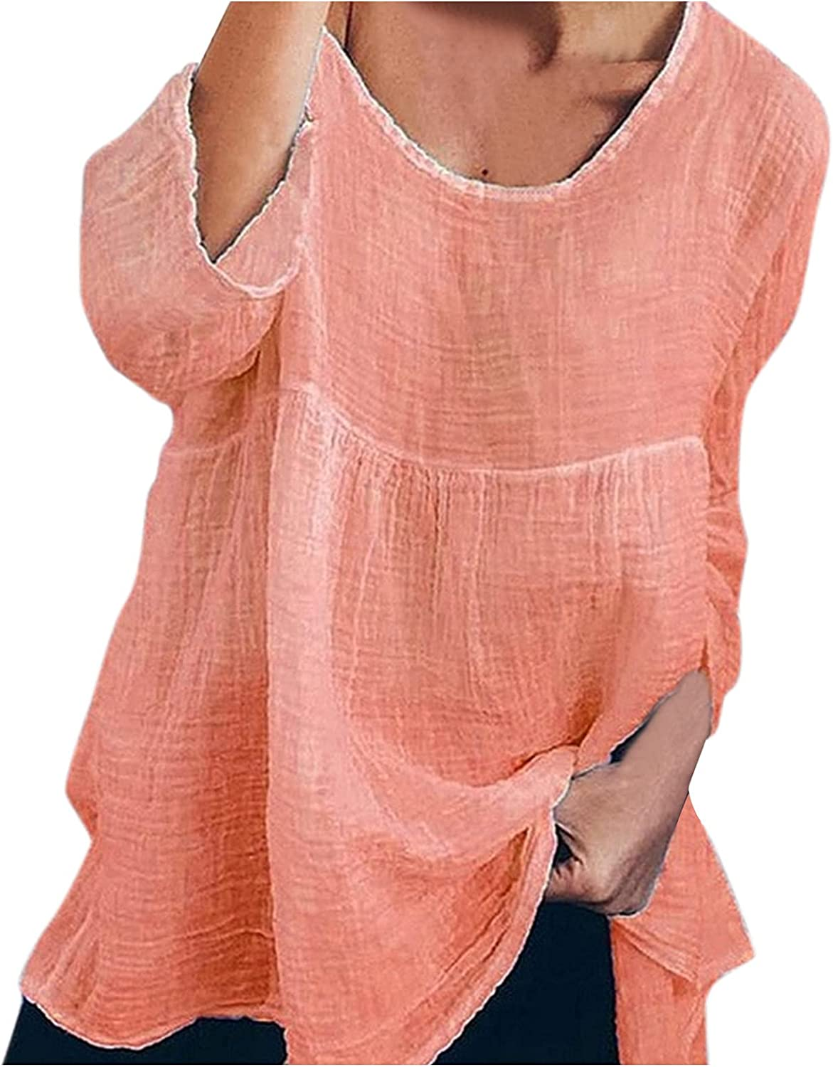 Linen Shirt for Women Scoop Neck To Loose Half Award Very popular Fit Casual Sleeve