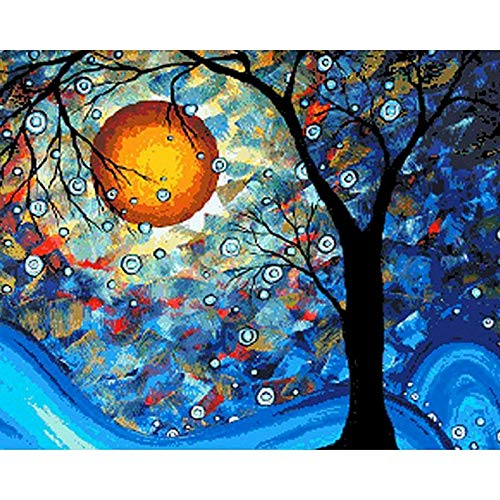 Árbol por temporadas de pintura de números con pintura acrílica sobre lienzo con kit de bricolaje para adultos para colorear por decoración de números Art W6 30x40cm