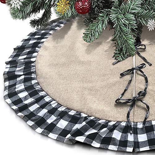 Leeko Weihnachtsbaumdecken, Weihnachtsbaum Kariertes und Sackleinen Rock Dekoration, Schutz vor Tannennadeln Weihnachtsbaumdecke Rund für Weihnachten (Schwarz 2)