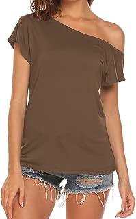 Halife Women's Off Shoulder Short Sleeve Loose Fit T Shirts Tops Blouses