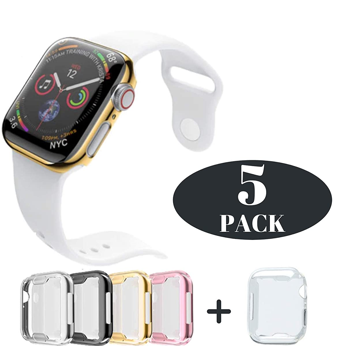 Case for Apple Watch 44m Series 4 Built-in Screen Protector All Protective Cover 5 Pack Black, Silver, Gold, Rose Gold HD Clear Ultra-Thin 44mm iWatch 4 TPU Cover iV Industry (5 Pack- 44mm)