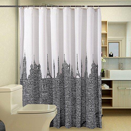 Turm Buchstaben Duschvorhang Anti-Schimmel, Wasserdicht Polyester Textil Duschvorhang mit Haken 120/150/180/200/220/240 x 200cm Weiß