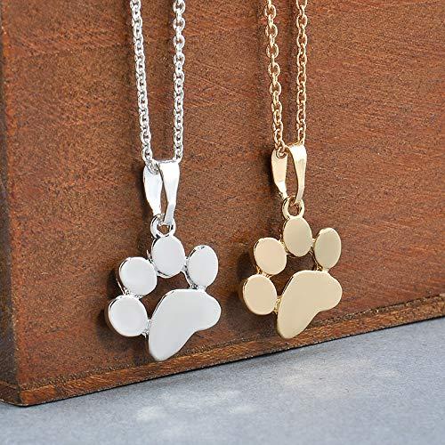 Romote Collar Colgante de Plata 1pc Moda Cadena Linda Animales Perros de la Pata Huellas y Pendantsfor suéter de Las Mujeres Collar