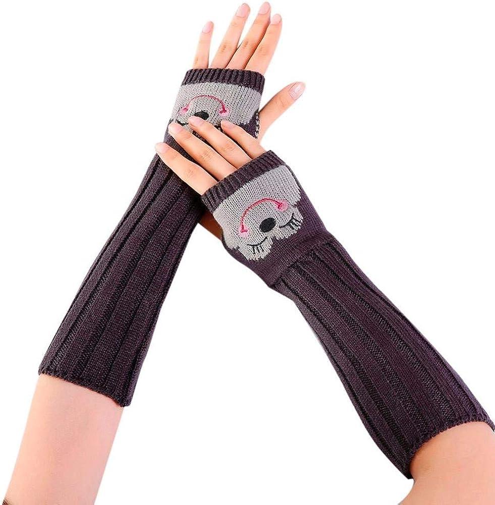 Women Gloves, Forthery Crochet Smile Knit Wrist Arm Warmer Fingerless Thumb Hole Gloves Mittens