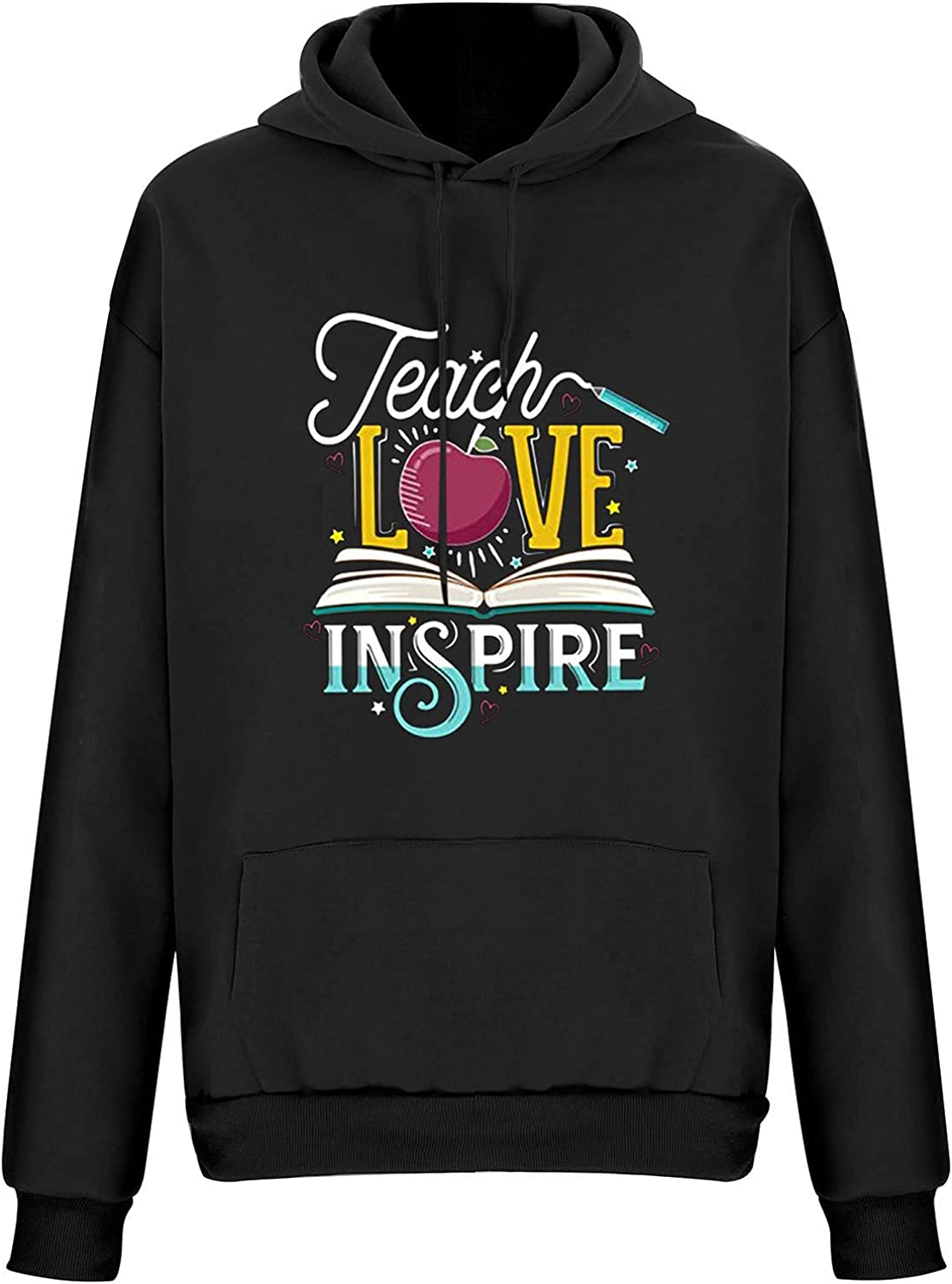 Women Long Sleeve Hooded Sweatshirts, Drawstring Casual Retro Hoodies Early Fall Teacher Athletic Pullover Blouse Tops