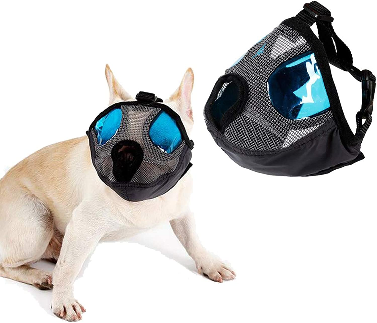 Petneces Dog Muzzle for Barking Puppy Mask Anti Barking and Biting with bluee Cool Eyes Cover Muzzle for Small Medium Large Size Dog