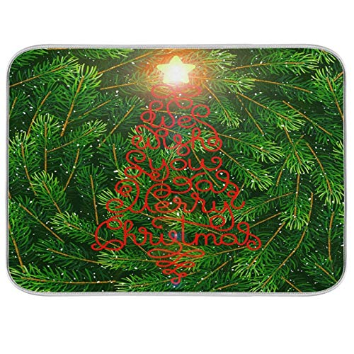 Oarenol We Wish You A Merry Christmas Tree Evergreen - Alfombrilla absorbente para secar platos (40,6 x 45,7 cm)