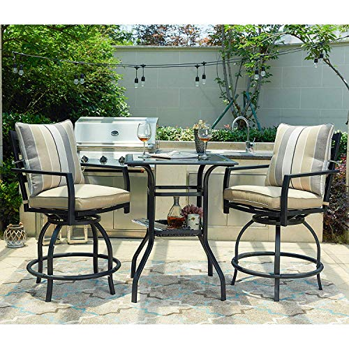 LOKATSE HOME Patio Bar Height 2 Outdoor Swivel Chairs and 1 High Glass Top Table, White Cushion Set