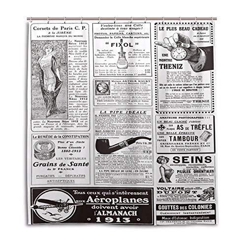N / A Badezimmer Dekor Dekorativ International Englisch Zeitung Duschvorhänge Custom Design Bad Vorhang Badezimmer Wasserdichter Polyester Stoff-B180cmxH200cm