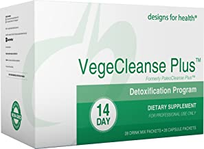 Designs for Health Vegetarian Cleanse Program - VegeCleanse Plus 14 Day Detox Program (28 Protein Powder + 28 Vitamin Packs)