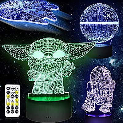 3D Illusion Star Wars Night Light Lamp, Star Wars Toys LED Night Light for Kids Room Decor,4 Pattern with Timing Function Great Star Wars Birthday Gifts for Fans Boys Men