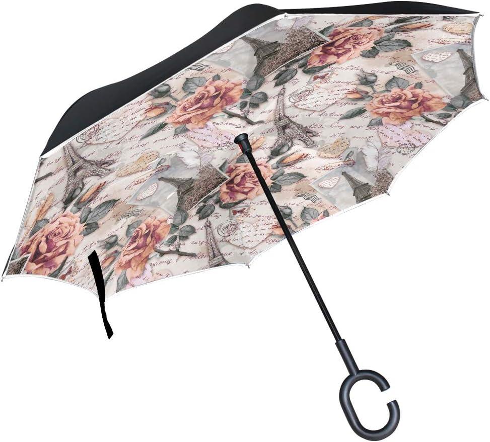 Product Womens Large Umbrella Retro Award Vintage Eiffel Tower Fl Paris Floral