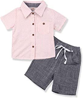 YOUNGER TREE Toddler Baby Boy Gentleman Outfit Button Down Striped Tops Polo Shirts +Shorts Pants 2pcs Summer Clothes Set