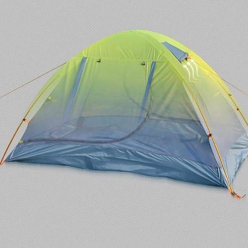 2 Personnes Tente Ultra légère Randonnée Double Couche Tente 4 Saison Camping Tente(Vert Bleu Orange)