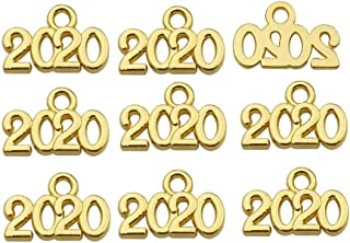 150pcs 9x13mm Craft Supplies Mini Gold Color Year of 2020 Charms Pendants for Crafting Jewelry Making Findings Accessory for DIY Necklace Bracelet Earrings (10930)
