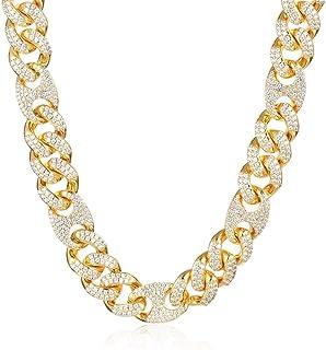 سلسلة هيب هوب كوبية من جولد إيديا مجوهرات 15 مم مطلية بالذهب الأبيض 14 قيراط / قلادة / سوار للرجال والنساء
