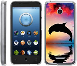 TurtleArmor | Compatible with Alcatel Acquire Case | Streak Case | Ideal Case [Flexible Armor] Ultra Slim Flexible Clear TPU Case Fitted Soft Bumper Cover Animal - Dolphin Jump