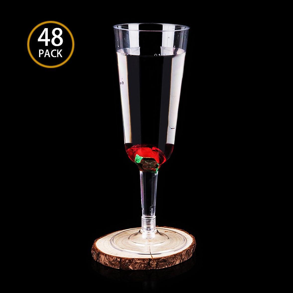 持続するあなたのものコンデンサーClear Party Cups Hard Plastic Champagne Flutes Wine Glasses 150ml (50)