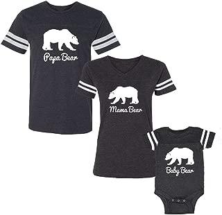 We Match! 3-Piece Papa Bear, Mama Bear & Baby Bear (White Print) Matching Football T-Shirts & Bodysuit Set