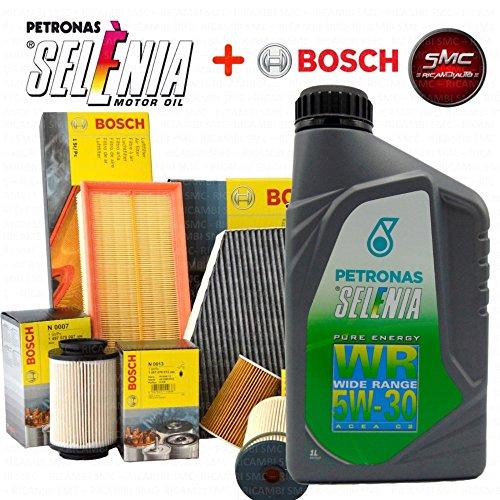 Kit tagliando olio SELENIA WR 5W30 5LT 4 FILTRI BOSCH (F026407096 OPPURE F026407108; 24.ONE.01; F026400194; 1987432377)