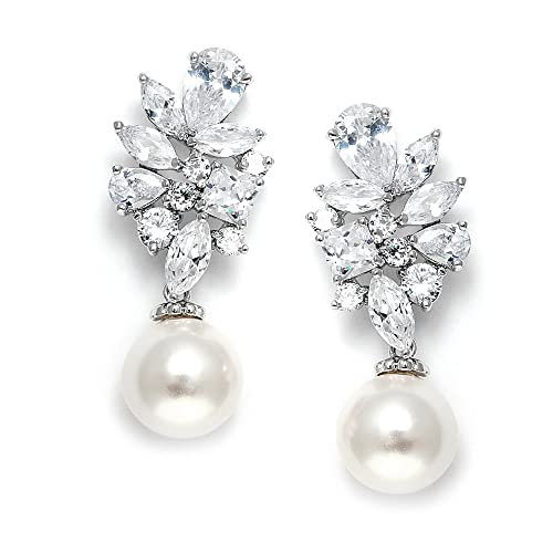 Crystal And Pearl Drop Earrings Bridal Amazon Com