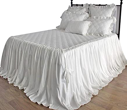 Queen's House Off White Quilted Bedspreads Coverlet King Size 30 Drop