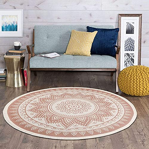 SHACOS Alfombra Redonda de algodón con Borla Alfombra Mandala Tejida, Sala de Estar/Dormitorio/Estudio/Alfombras de Mesa de Centro, diámetro 120 cm