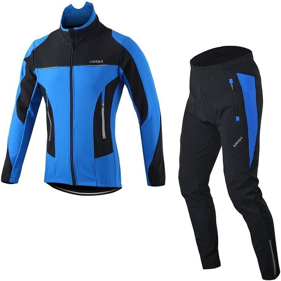 Lixada Mens Cycling Jersey Suit Winter Thermal Breathable Comfortable Long Sleeve Jacket with Padded Cushion Pants Trousers