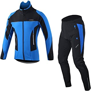 Men's Cycling Jersey Suit Winter Thermal Breathable Comfortable Long Sleeve Jacket with Padded Cushion Pants Trousers