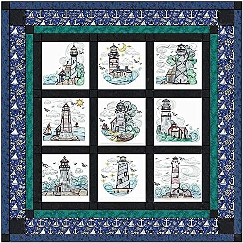 Quilt Kit Jacksonville Mall Cheap mail order shopping Sea to Lighthouses Pre Ready Sew Finished E Cut