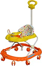 Sunbaby Hot Racer Musical Height Adjustable Baby Walker with Toys (Yellow with Orange)