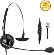 Corded Telephone Headset RJ9 for Office Call Centers Monaural with Noise Canceling Mic Volume Control for Yealink T21P T22P T26P T28P Grandstream Snom Huawei AltiGen Panasonic KXT IP Phones