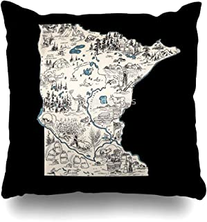 Ahawoso Throw Pillow Cover Square 18x18 Inches Minnesota Vintage Picture Map Decorative Pillow Case Home Decor Pillowcase