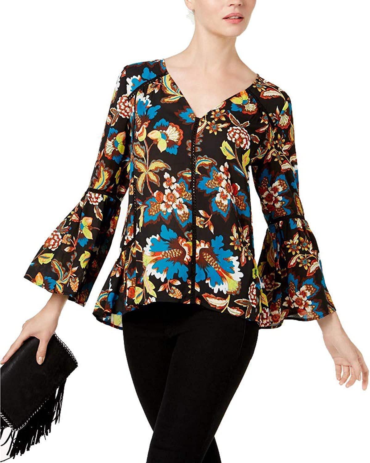 INC International Concepts VNeck Floral Blouse