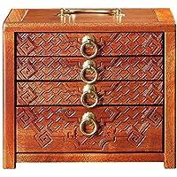 AFCITY Caja de té Oriental Vintage Caja registradora sólida Accesorios de la Ceremonia de Madera Pu'er Caja de Palo de Rosa de múltiples Capas del hogar Juego de té de Kung Fu té