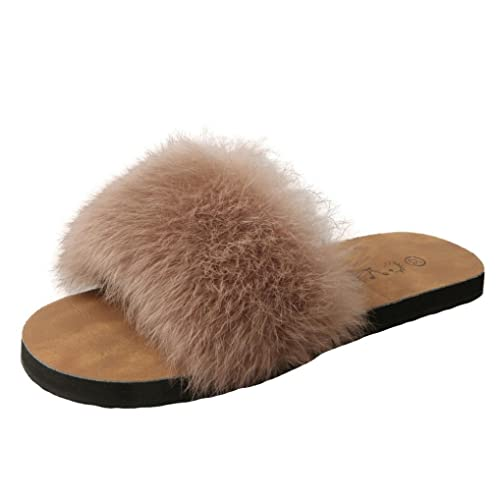 ae267ac399ec HARRYSTORE Summer Womens Ladies Slip On Sliders Fluffy Faux Fur Flat  Slipper Sandal