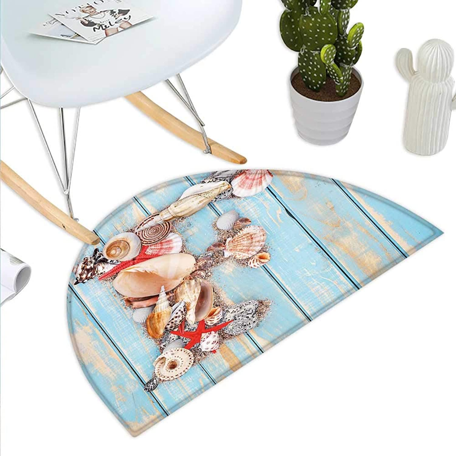 Letter F Semicircle Doormat Coastal Image with Soft color Sea Related Animal Shells Alphabet Halfmoon doormats H 39.3  xD 59  Pale bluee Ivory Dark Coral