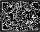 Amajoy Tapiz blanco y negro para colgar en la pared Hippie Tarot Card Tapiz Bohemio Sol y luna Tapiz de pared para dormitorio Sala de estar Dormitorio 12 Constelación Tapiz (130x150 CM)