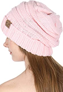SERENITA Knit Beanie hat, Soft Warm Cable Winter Chunky Skull Cap, Slouchy stretcing, for Women