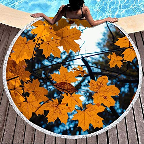 Toalla de playa redonda con hojas de arce, para otoño, para playa, picnic, baño, spa, yoga, deporte, toalla de baño, absorbente, con flecos, color blanco, 150 cm