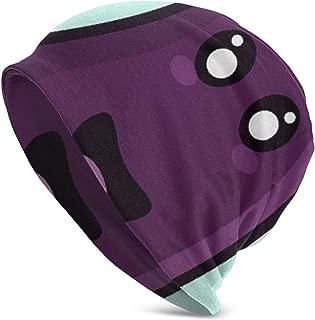 PBAYQVBA Purple Kawaii Eggplant White Print Flower Cap Cancer Hats Beanie Stretch Casual Turbans for Women