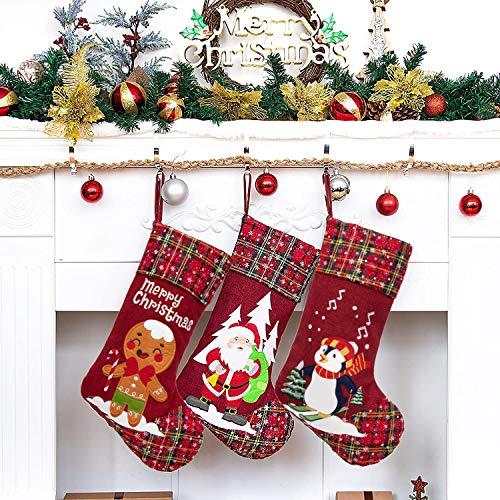 Beyond Your Thoughts - 3 calze natalizie con glitter e fiocchi di neve, per la famiglia, per le vacanze tradizionali, da appendere, per camino, decorazioni natalizie, confezione da 3
