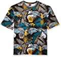 Southpole Men's Big and Tall All Over Print Short Sleeve T-Shirt, Black Parrot 1, 3XB